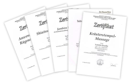 Zertifizierungen in Massage- und Entspannungstechniken