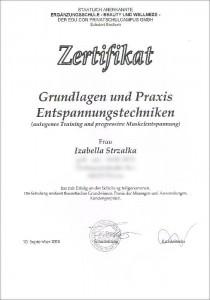 Zertifikat Autogenes Training und progressive Muskelentspannung