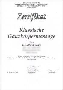 Zertifikat Ganzkörpermassage