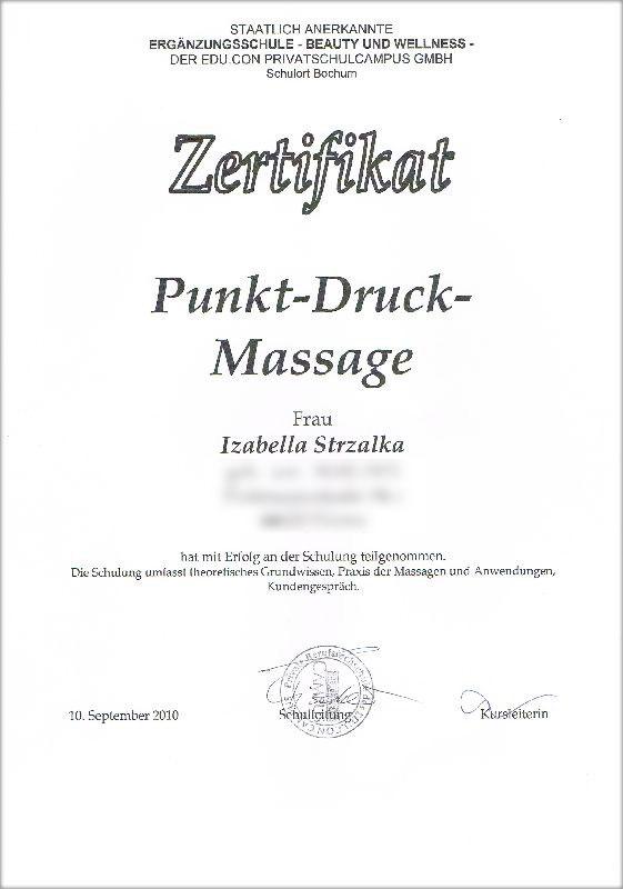 Zertifikat Punkt-Druck-Massage