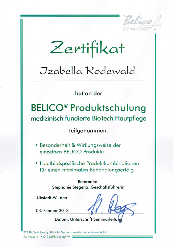 Zertifikat Bio Tech Belico- Produktschulung