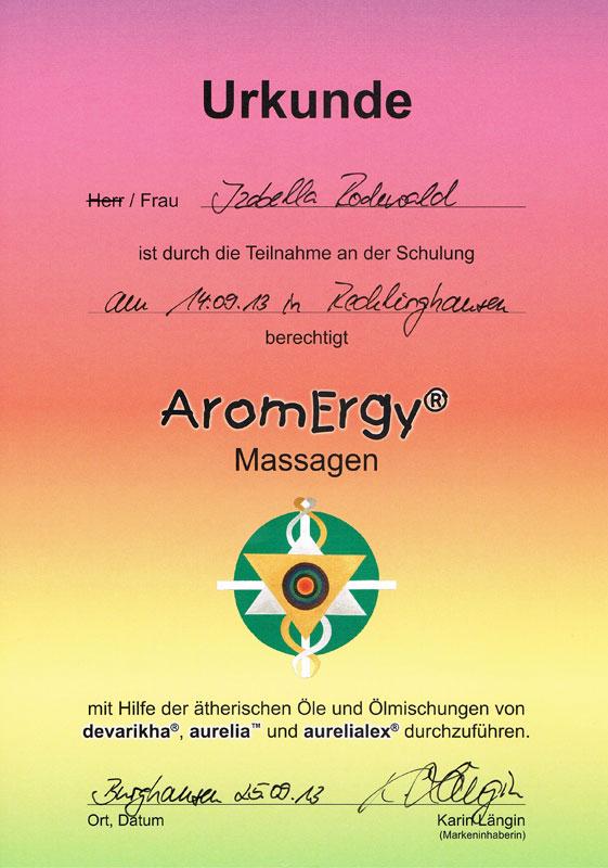 Zertifikat AromErgy - Massagen mit ätherischen Ölen