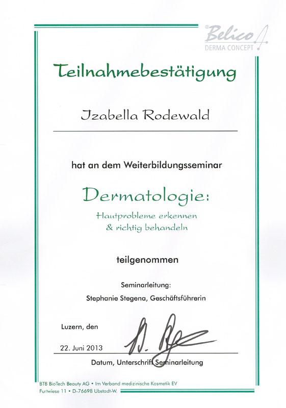 Zertifikat Dermatologie Izabella Rodewald