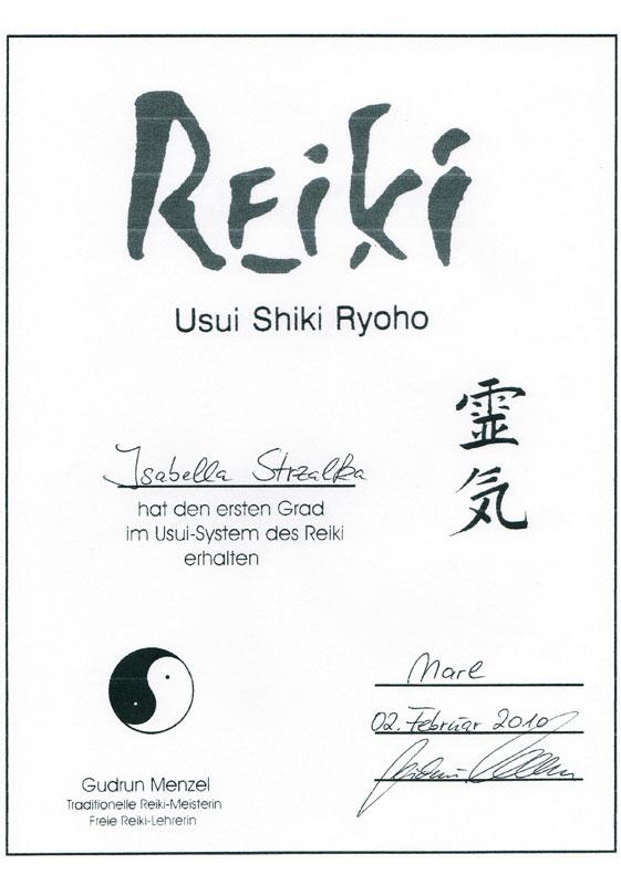Zertifikat Reiki Izabella Rodewald