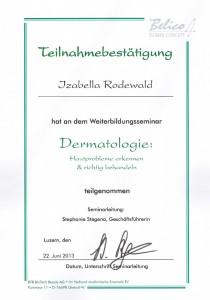 Zertifikat Dermatologie Behandlung von Hautproblemen Izabella Rodewald