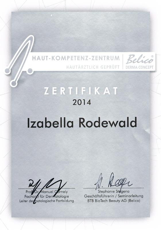 Zertifikat Belico Hautkompetenzzentrum Treffpunkt Schönheit 2014